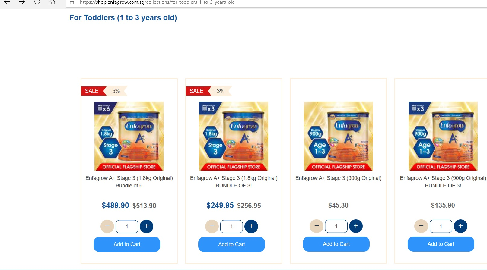 Listings for Enfagrow milk formulas and their prices for toddlers.