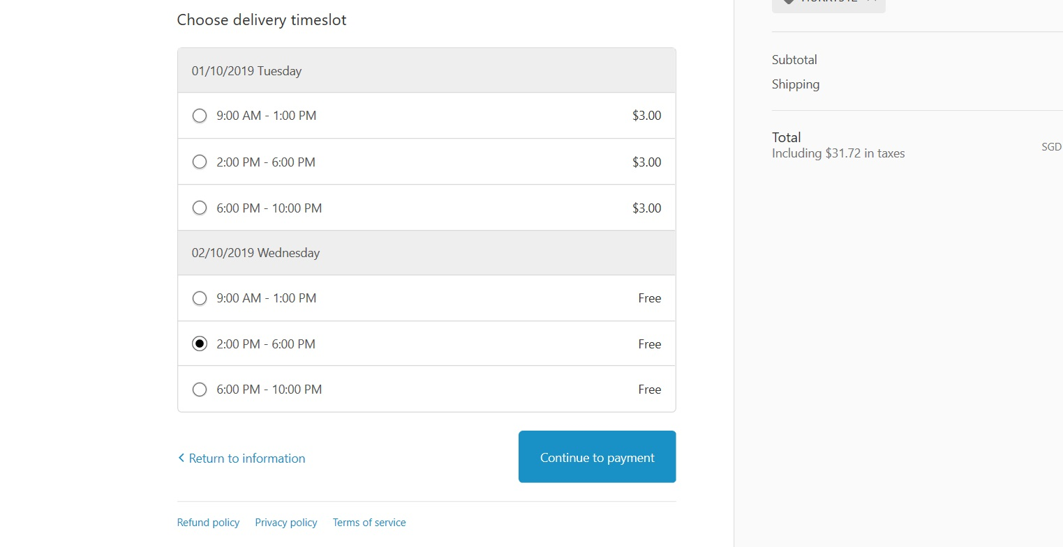 Listing of options to choose a delivery time slot.
