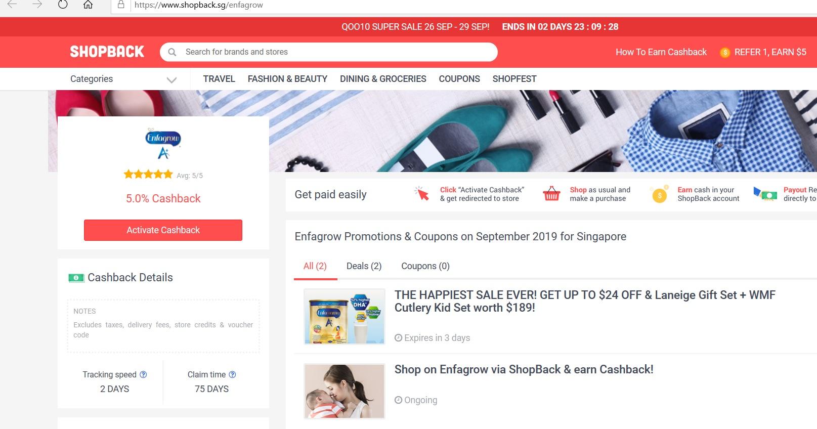 Enfagrow page on the ShopBack website.