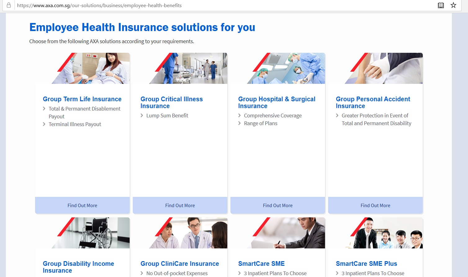 Listings for insurance plans from AXA Insurance.