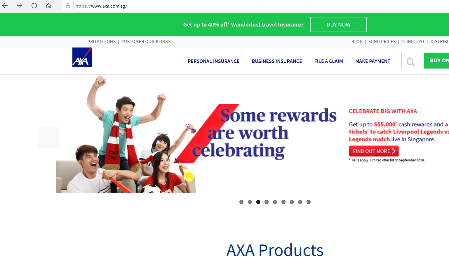 AXA Insurance website homepage.