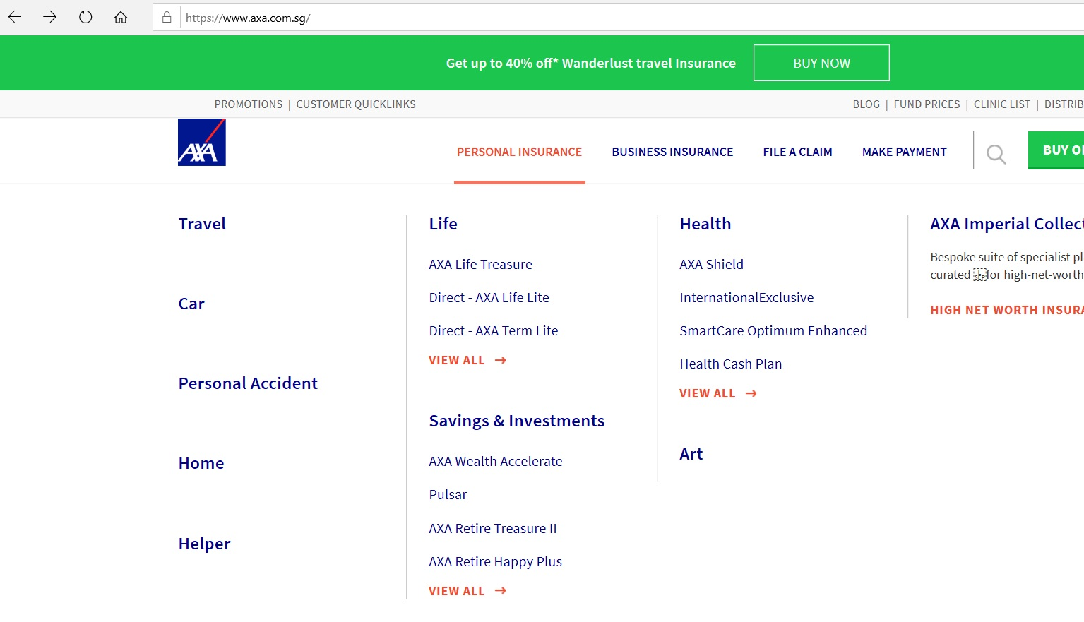 Dropdown of product categories for Personal Insurance.