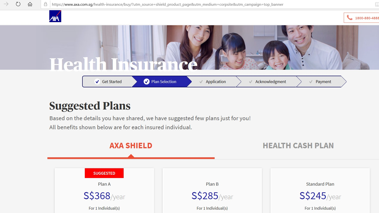 Suggested insurance plans based on details provided.