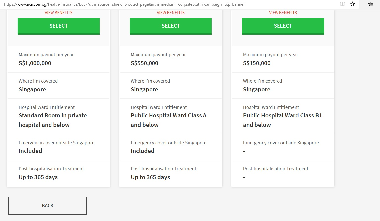 Details of each insurance plan.