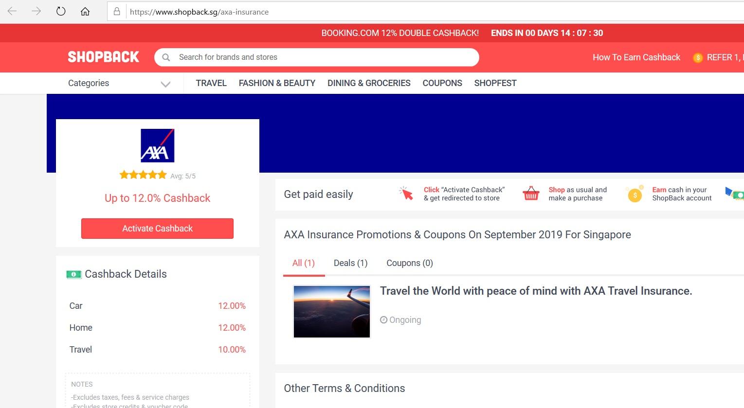 AXA Insurance page on ShopBack website.