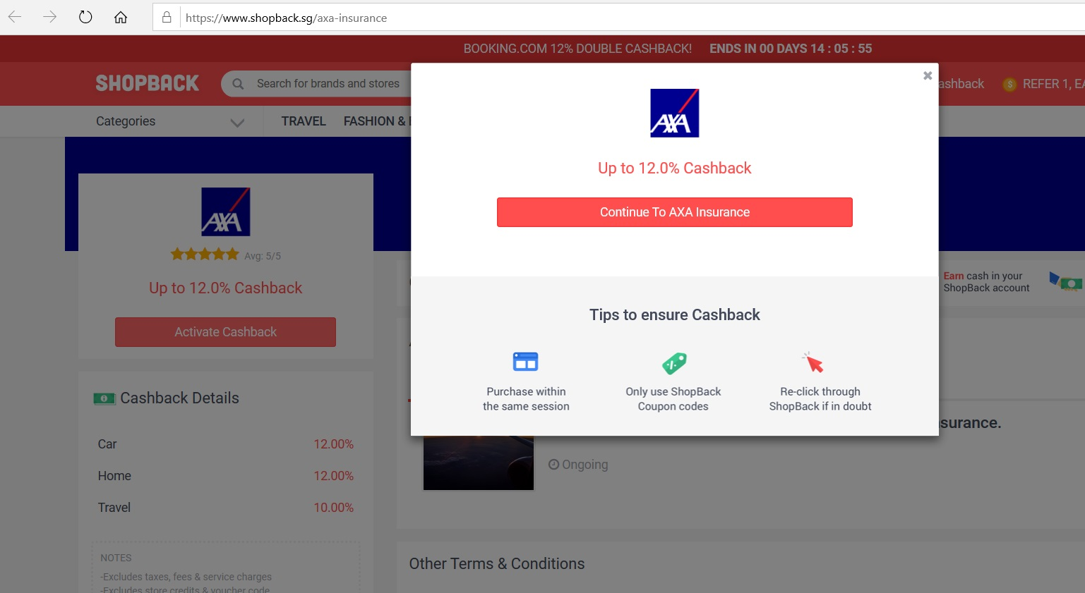 Button to activate cashback from AXA Insurance.
