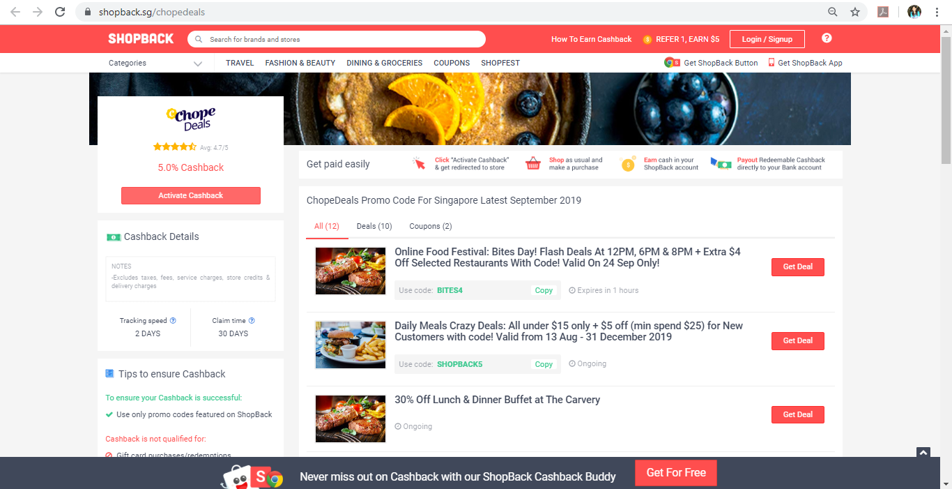 ChopeDeals page on ShopBack website.