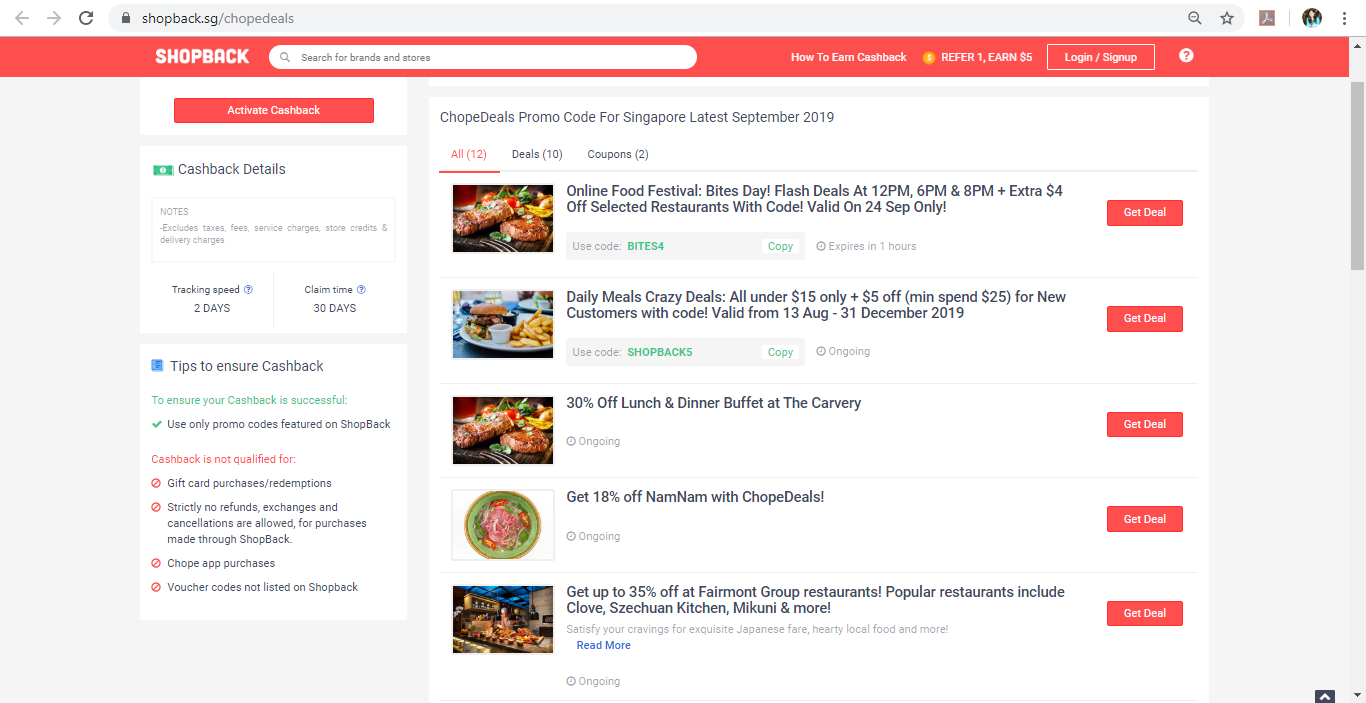 Deals section of ChopeDeals page on ShopBack.