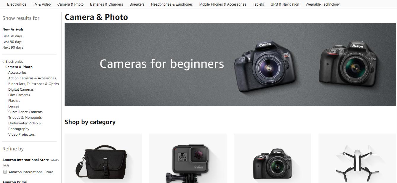 Catalogue of cameras on Amazon website.