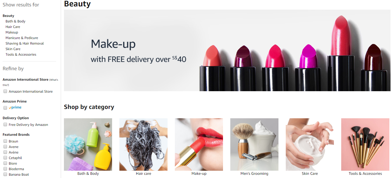 Beauty product categories on Amazon.