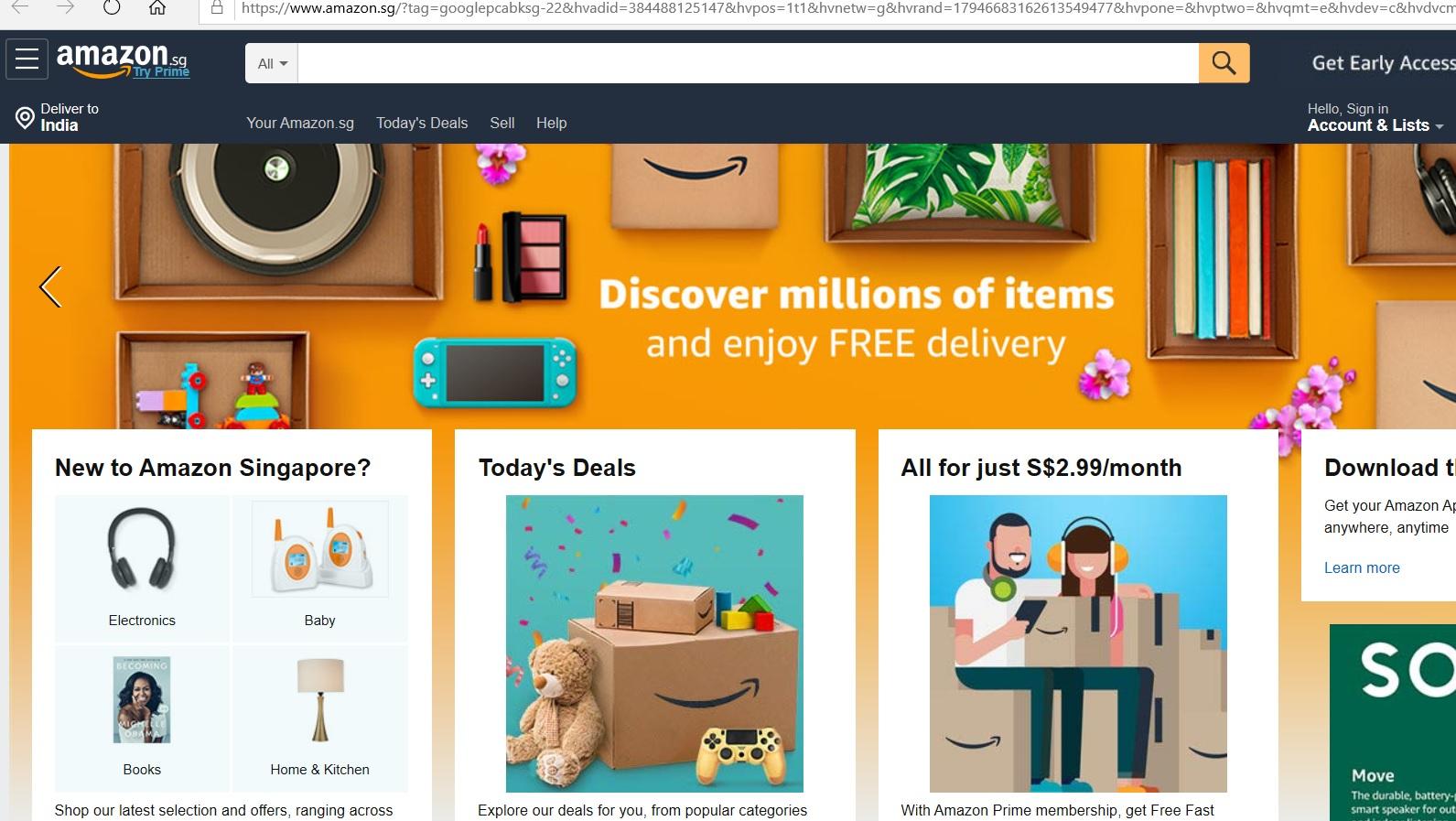 Amazon website homepage.
