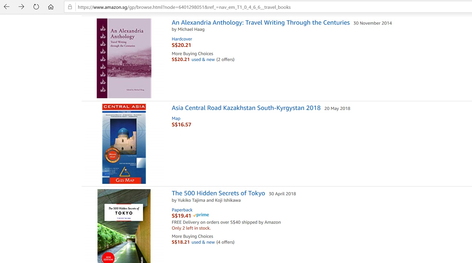 Listings for books on Amazon.