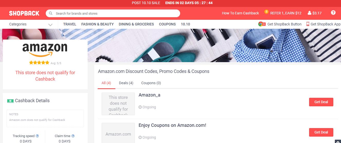 Amazon page on ShopBack website.