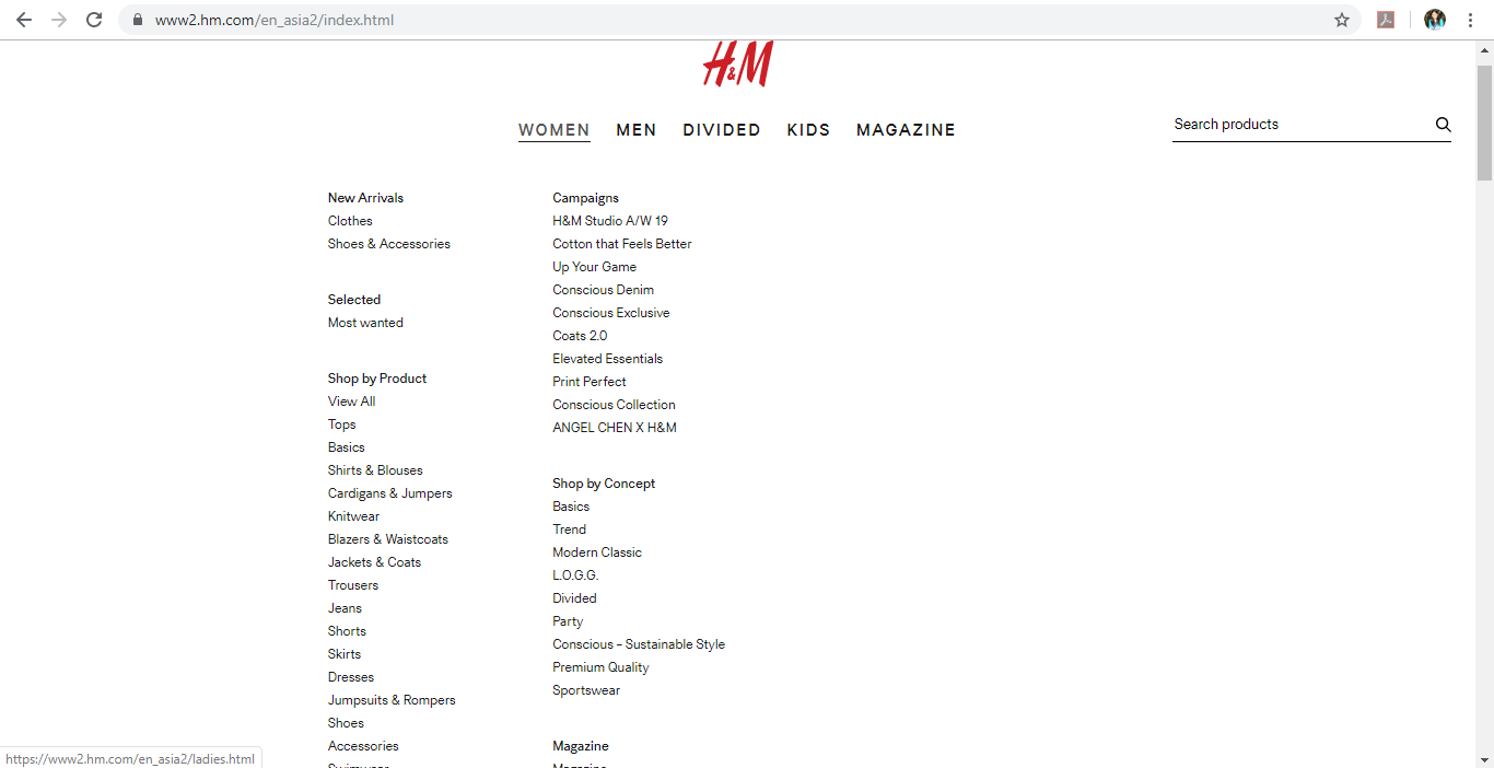 Product category dropdown for Women on H&M website.