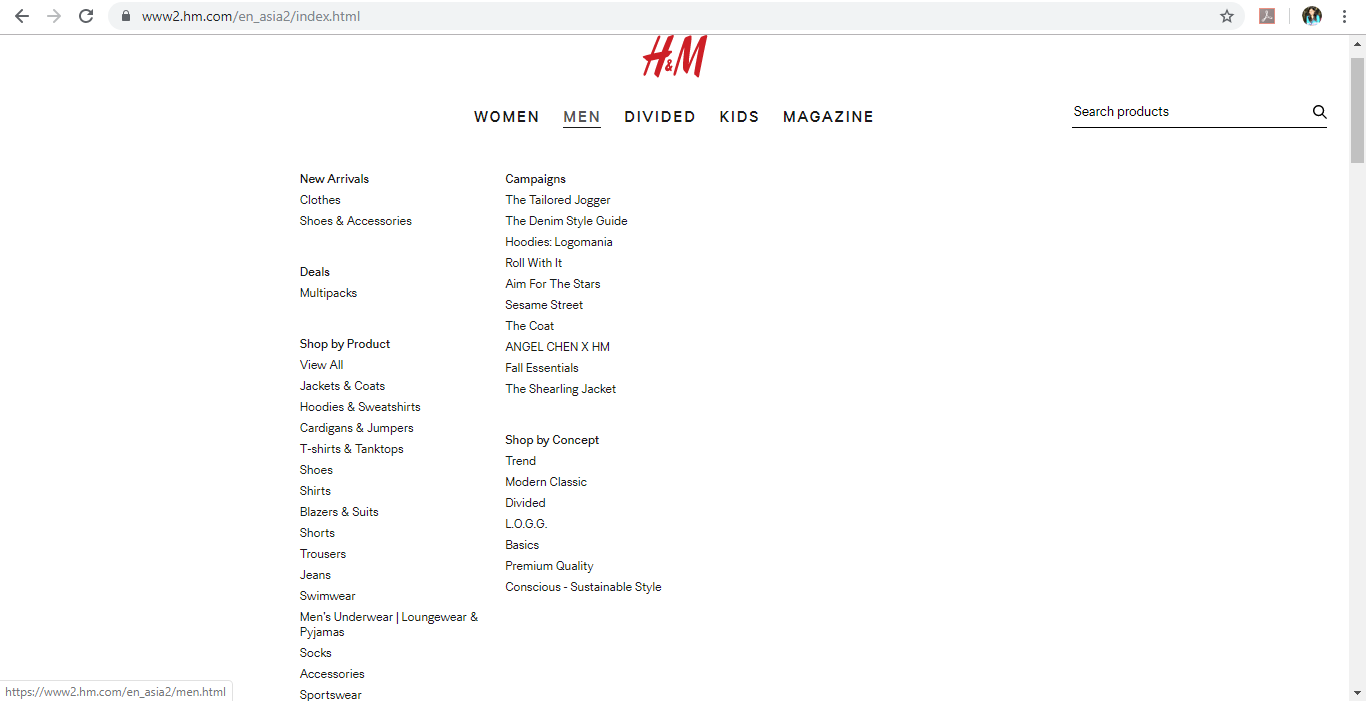 Product category dropdown for Men on H&M website.