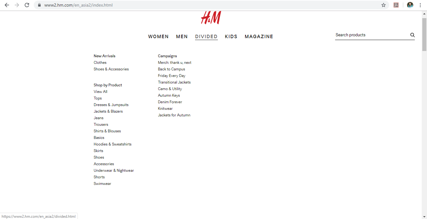 Product category dropdown for Divided on H&M website.