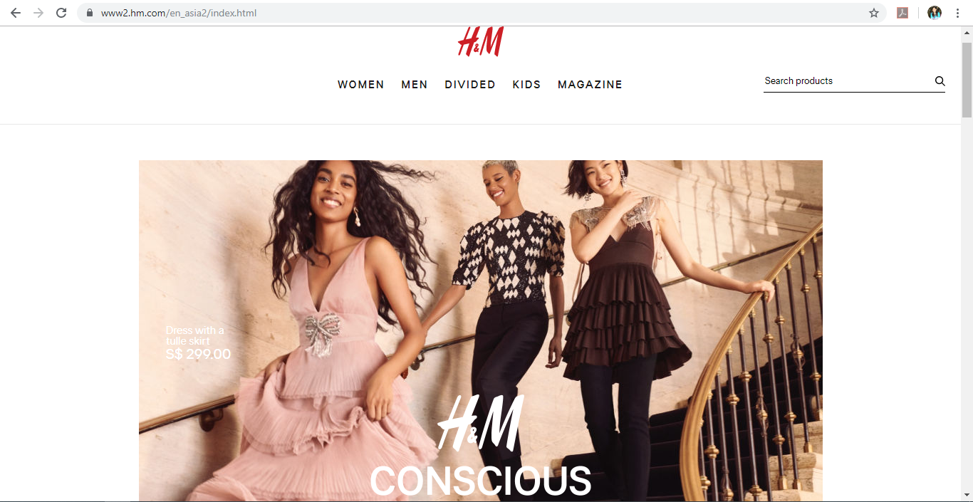 H&M website homepage.