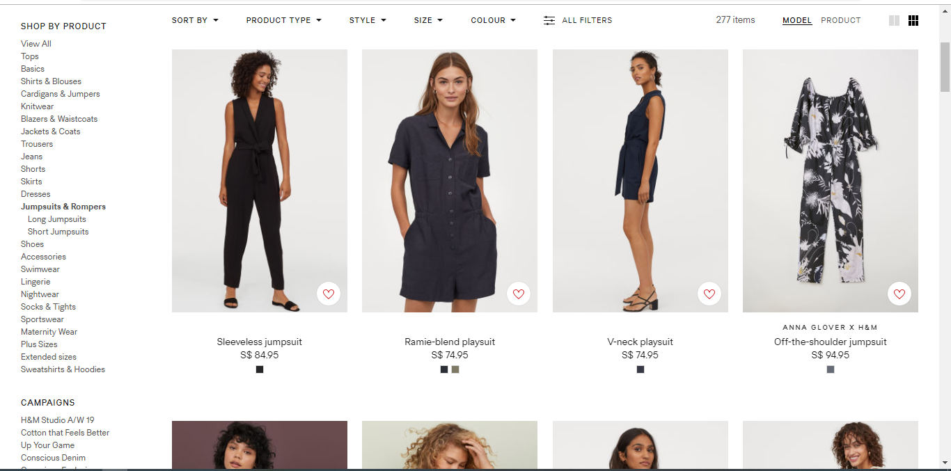 Catalogue of women s clothes on H&M.