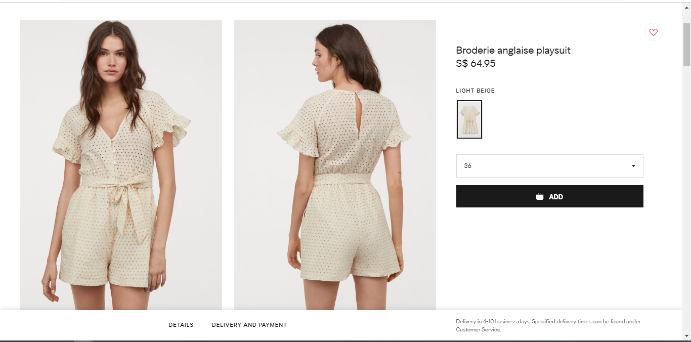 Product description and price for a playsuit.