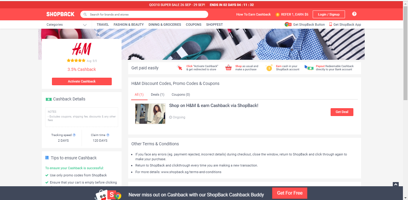 Button to activate cashback from H&M.