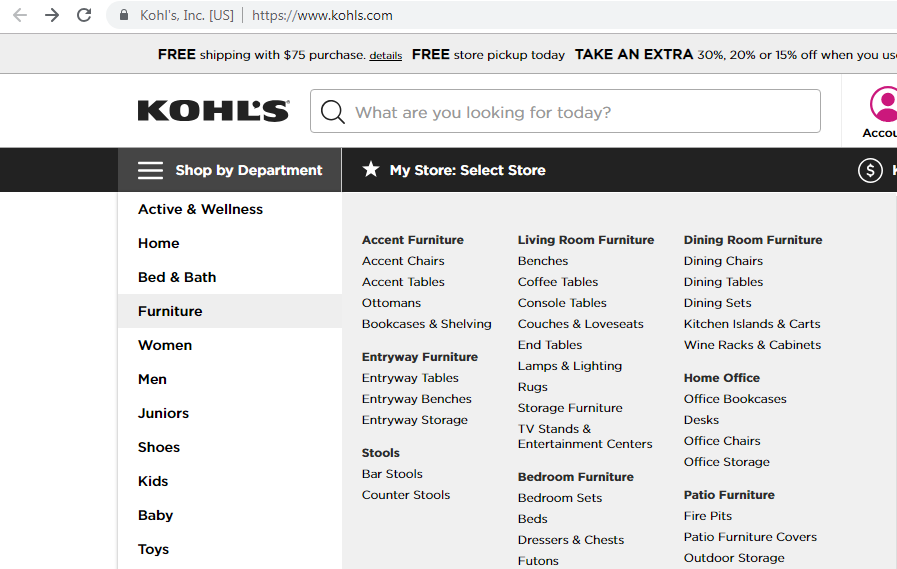 Product category dropdown for Kohl s furniture.