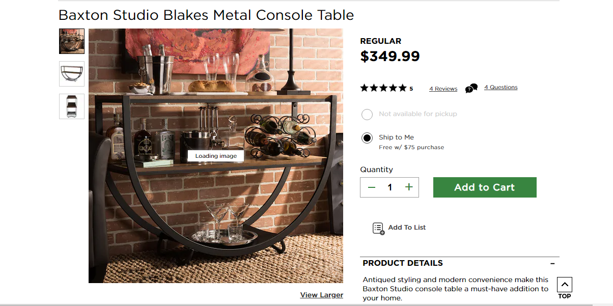 Product description and price of a table.