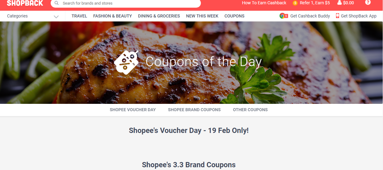 Coupons of the Day section on ShopBack.