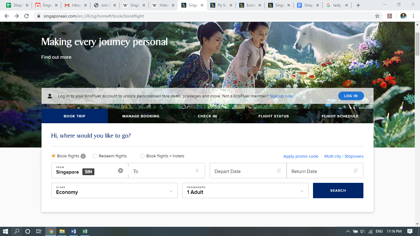 Singapore Airlines website with a search engine.
