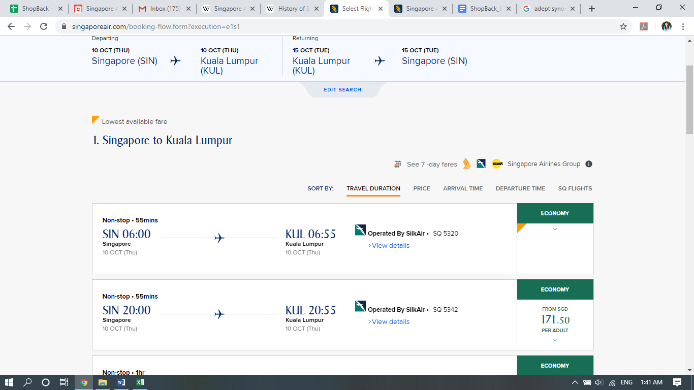 Search results for Singapore to Kuala Lumpur flights.