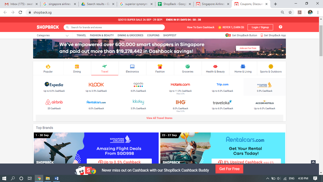 Singapore Airlines click-on on ShopBack.