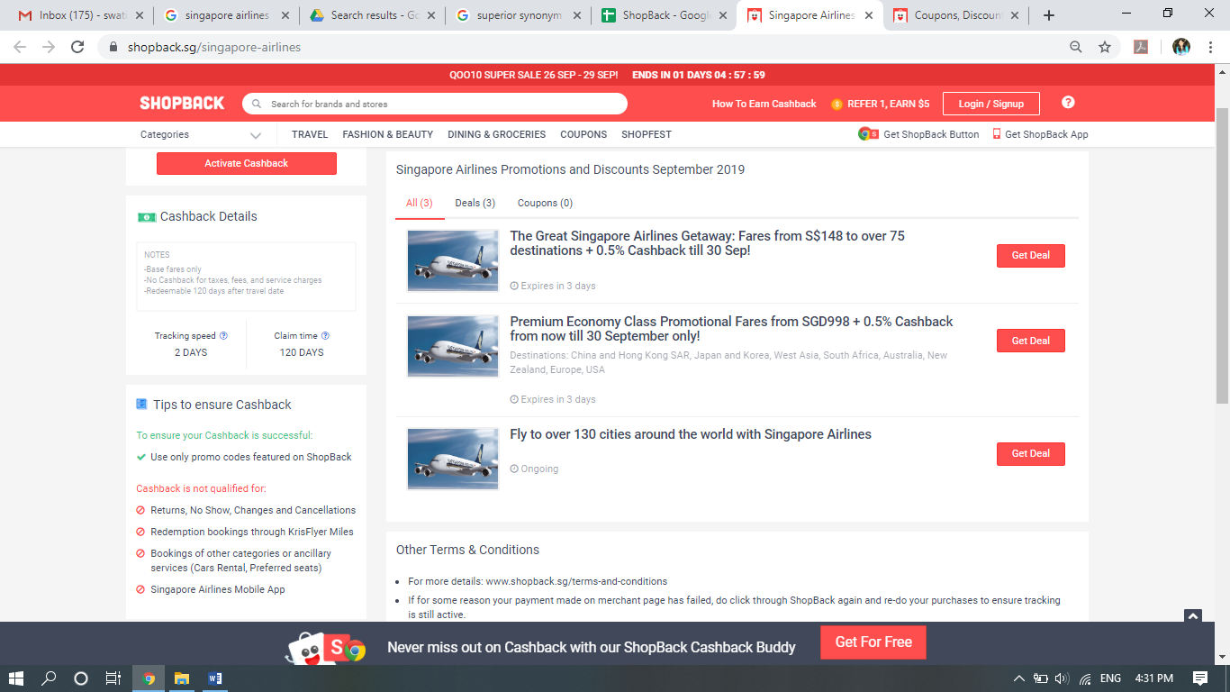 Deals section on Singapore Airlines page.