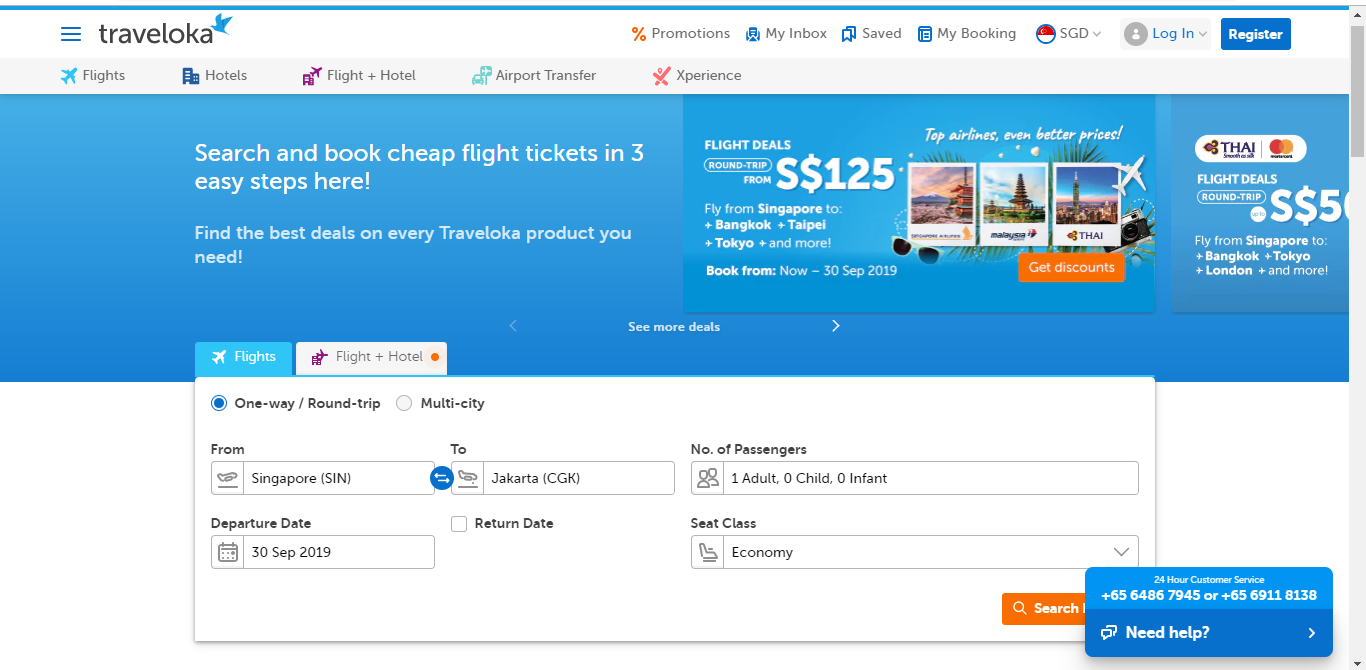 Traveloka website with a search engine.