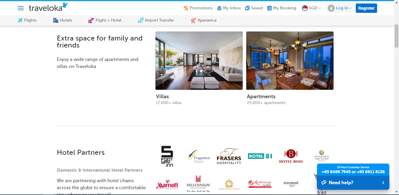 Listings for villas and apartments on Traveloka.