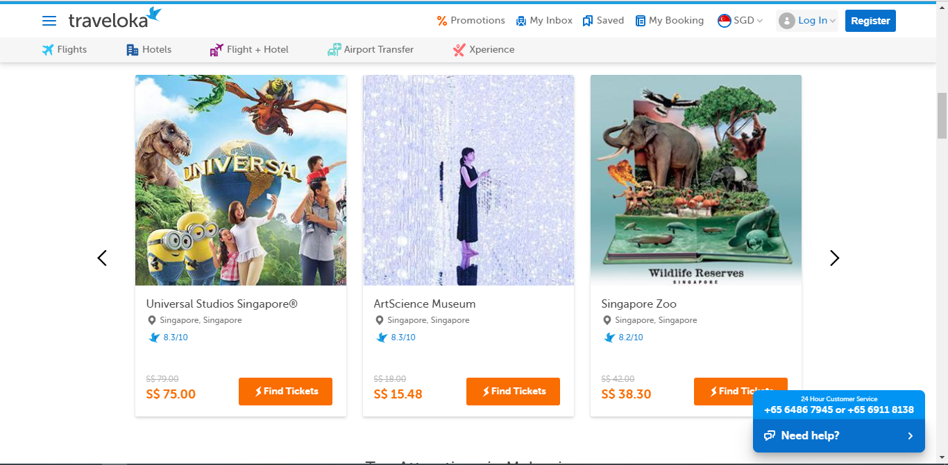 Listings for activities with Traveloka.