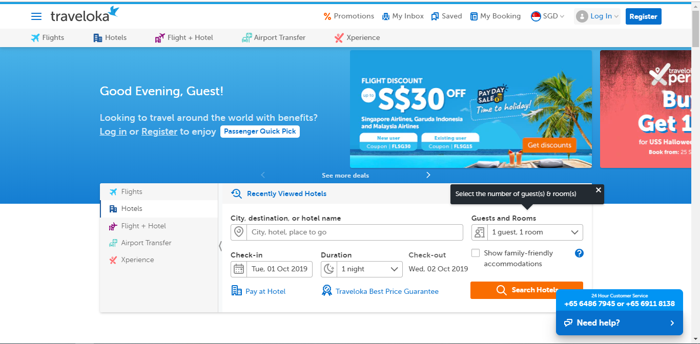 Search engine to enter details to search for hotels.