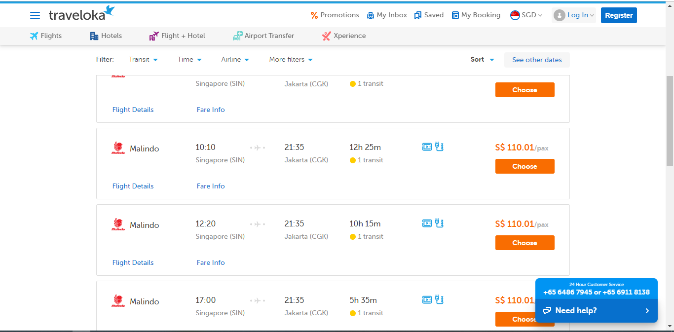 Search results for flights from Singapore to Jakarta.