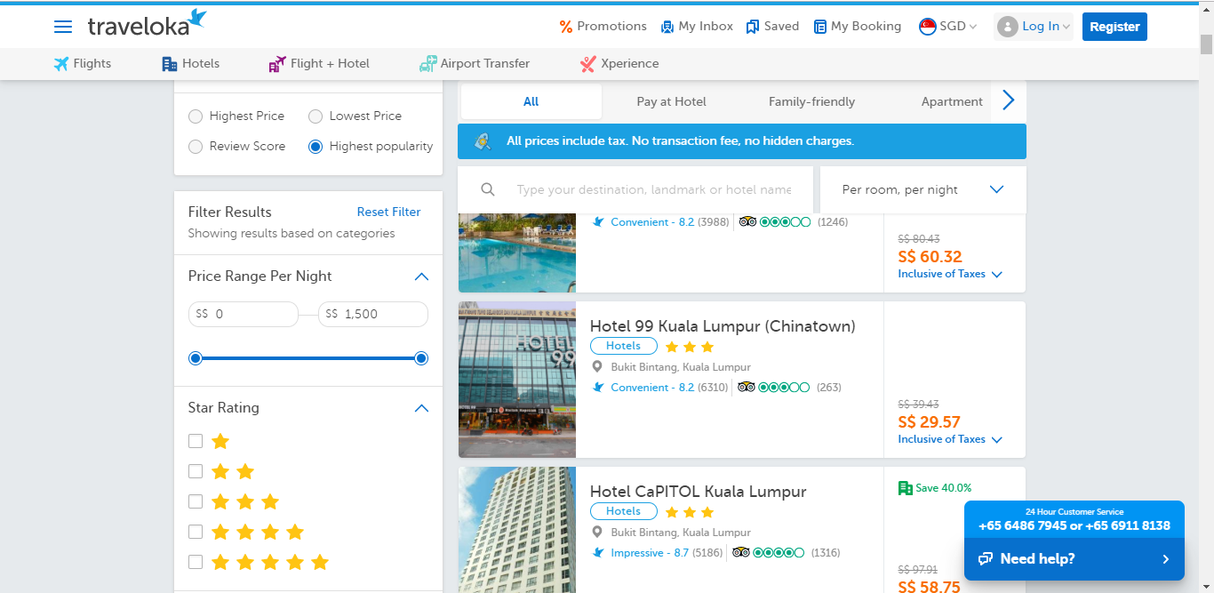 Search results for hotels in Kuala Lumpur.