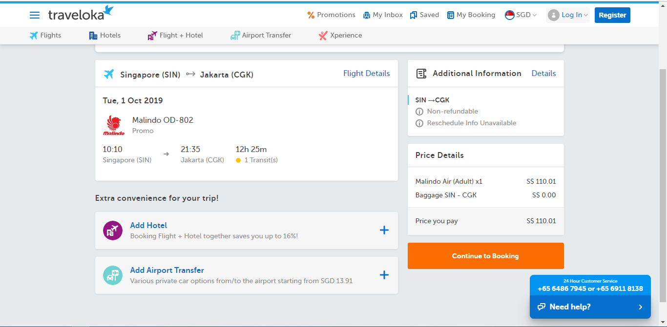 Page to view flight booking details.