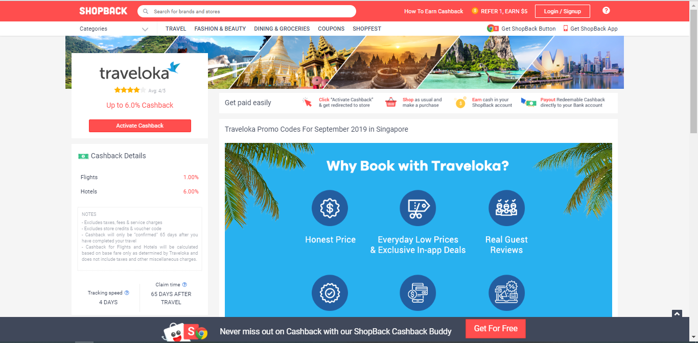 Activate Cashback button for Traveloka.