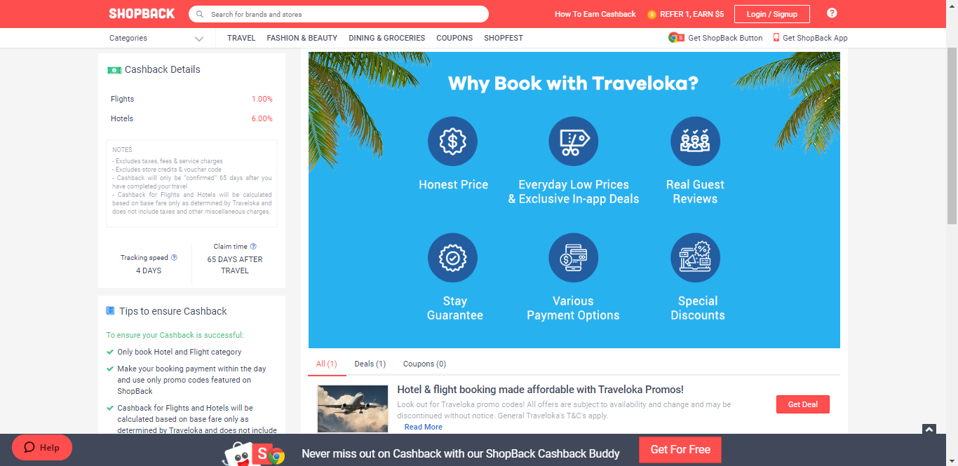 Deals section on Traveloka page.