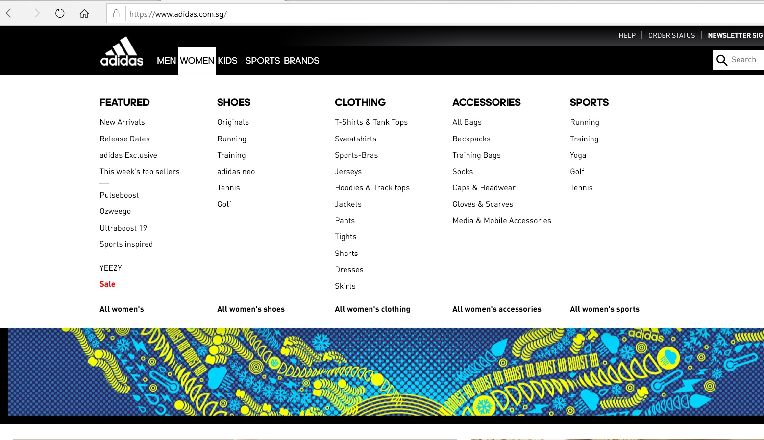 Product category dropdown on Adidas website.