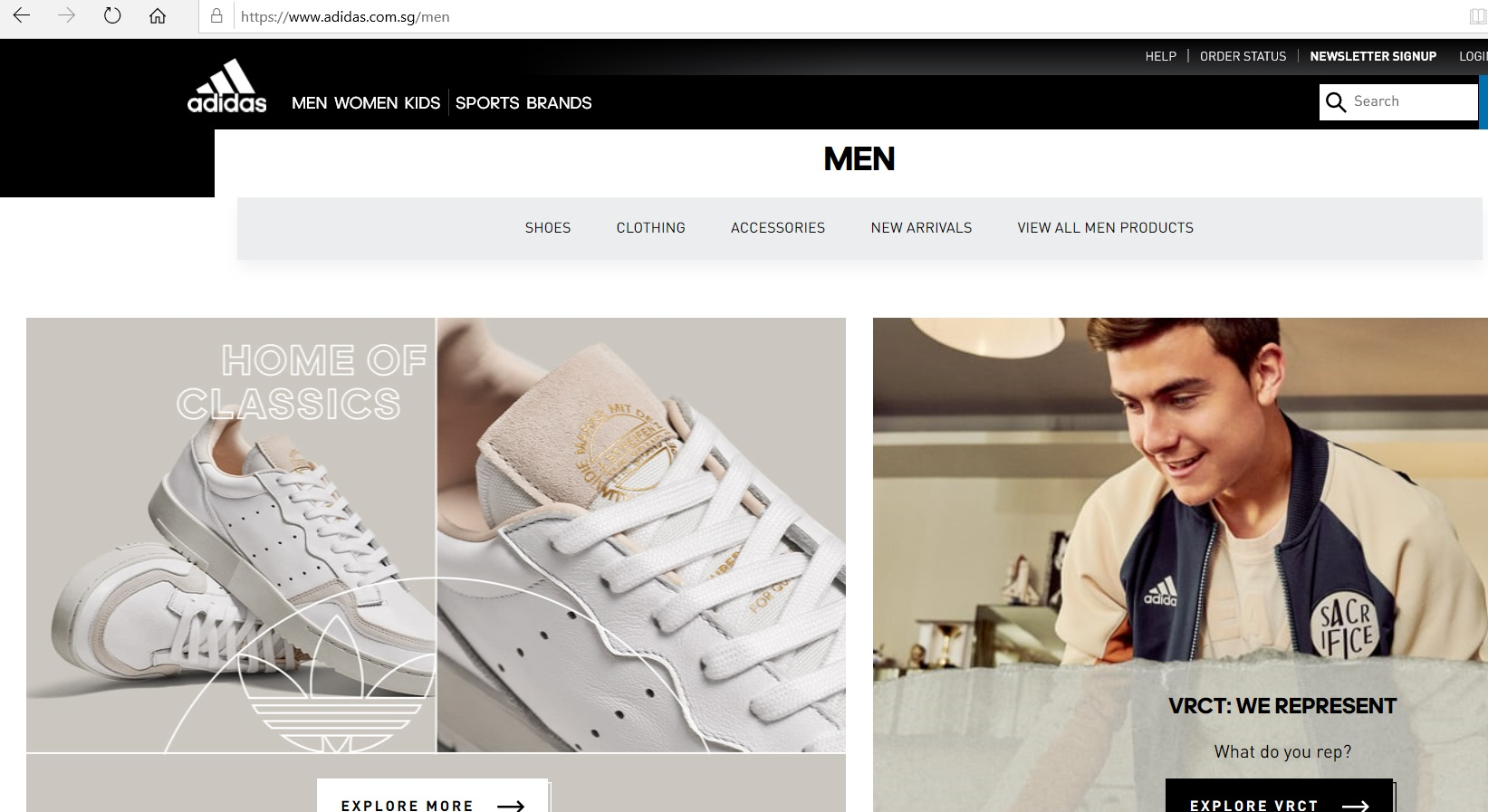 Men s section of Adidas website.