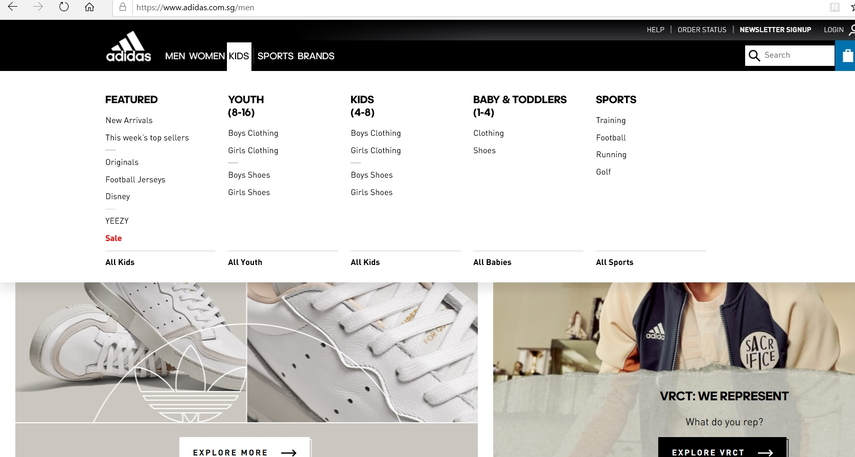 Kids  product category dropdown on Adidas website.