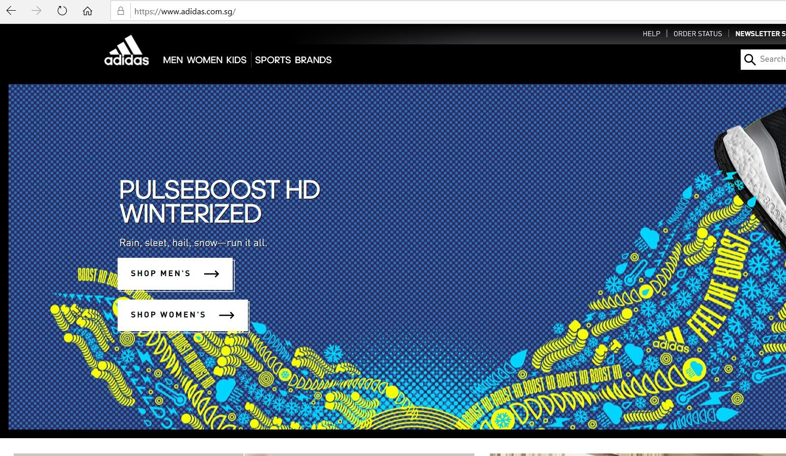 Adidas website homepage.