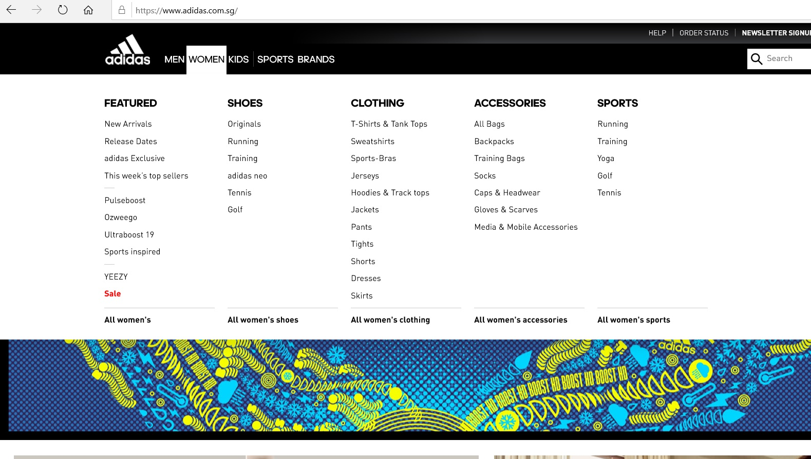 Women s product category dropdown on Adidas website.