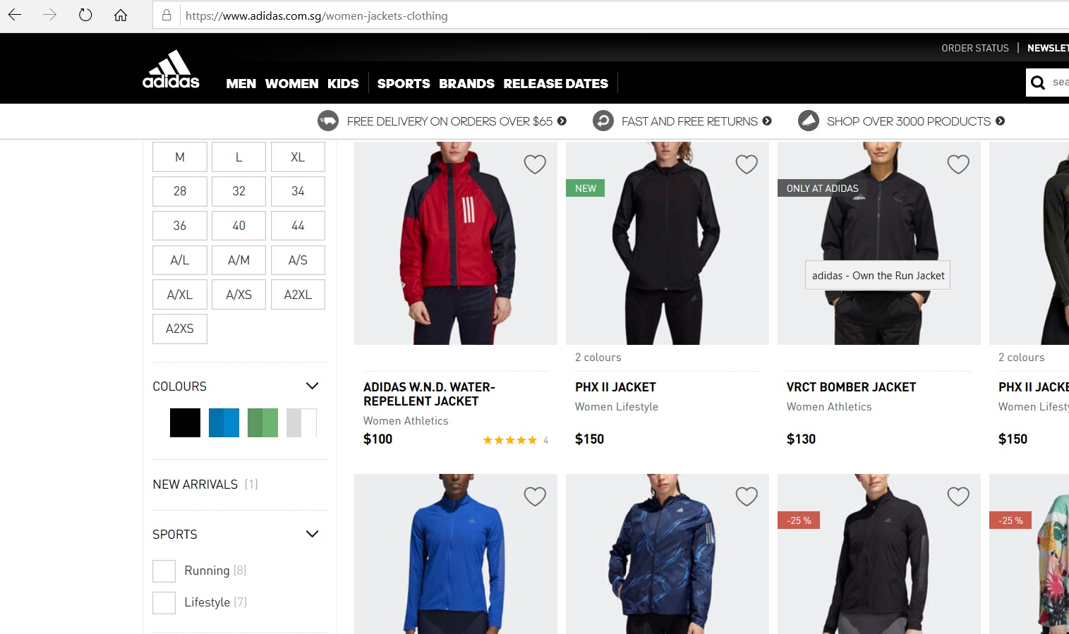 Online catalogue of Adidas jackets.