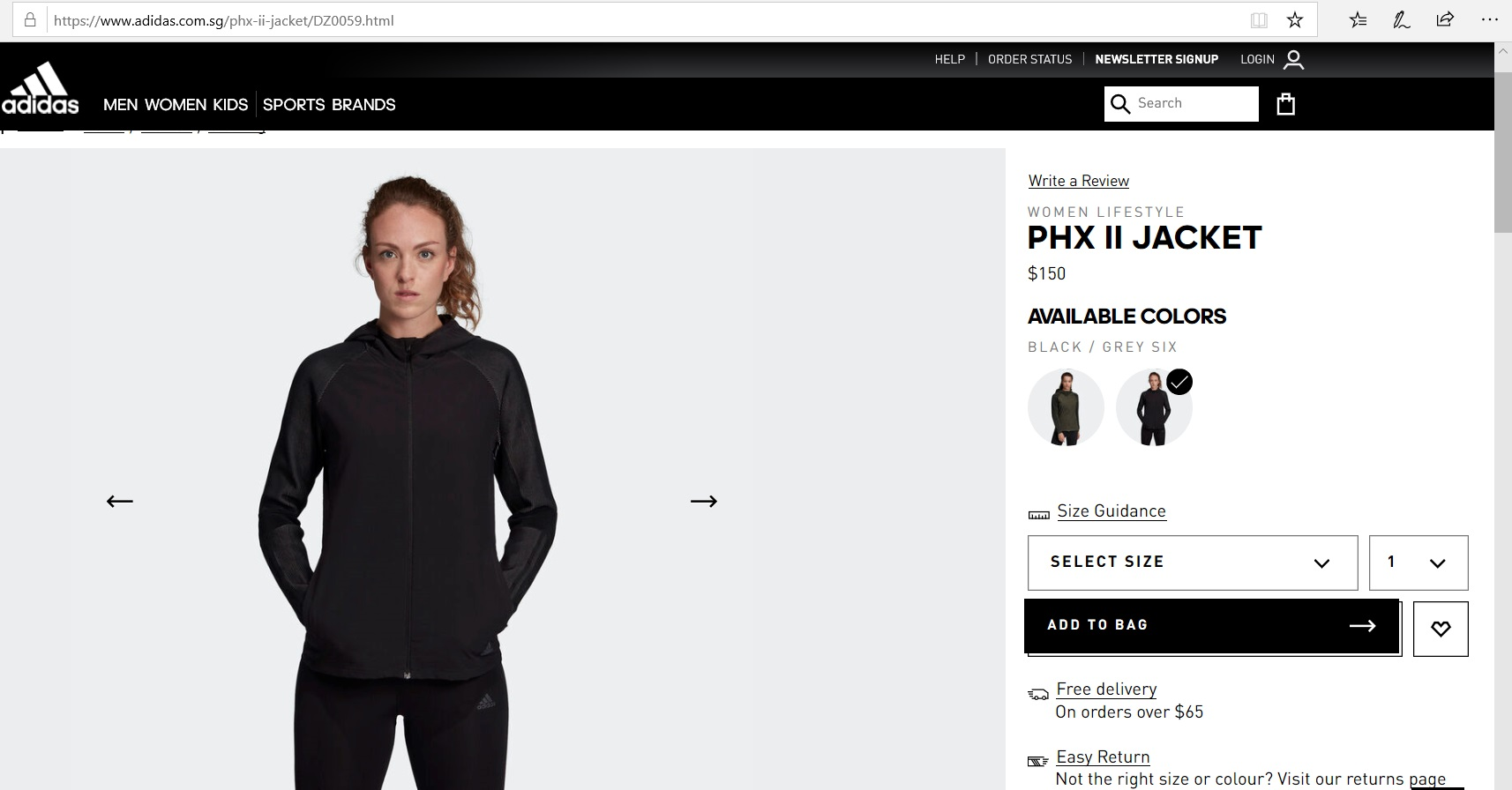 Product description of an Adidas jacket.
