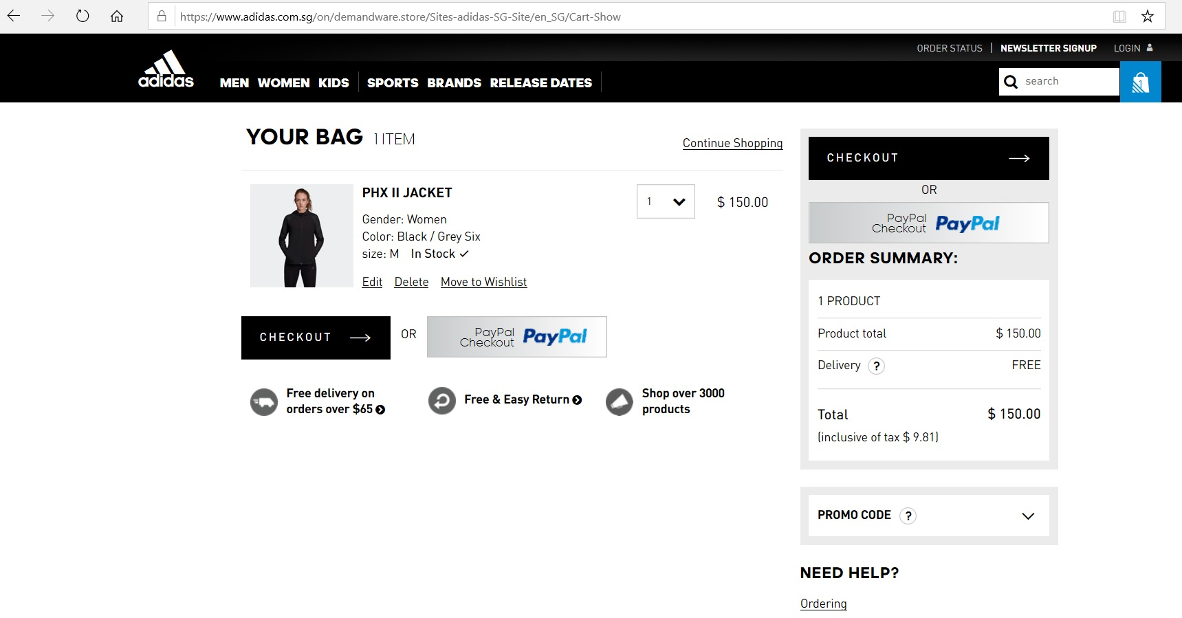 Online shopping cart with an order summary.
