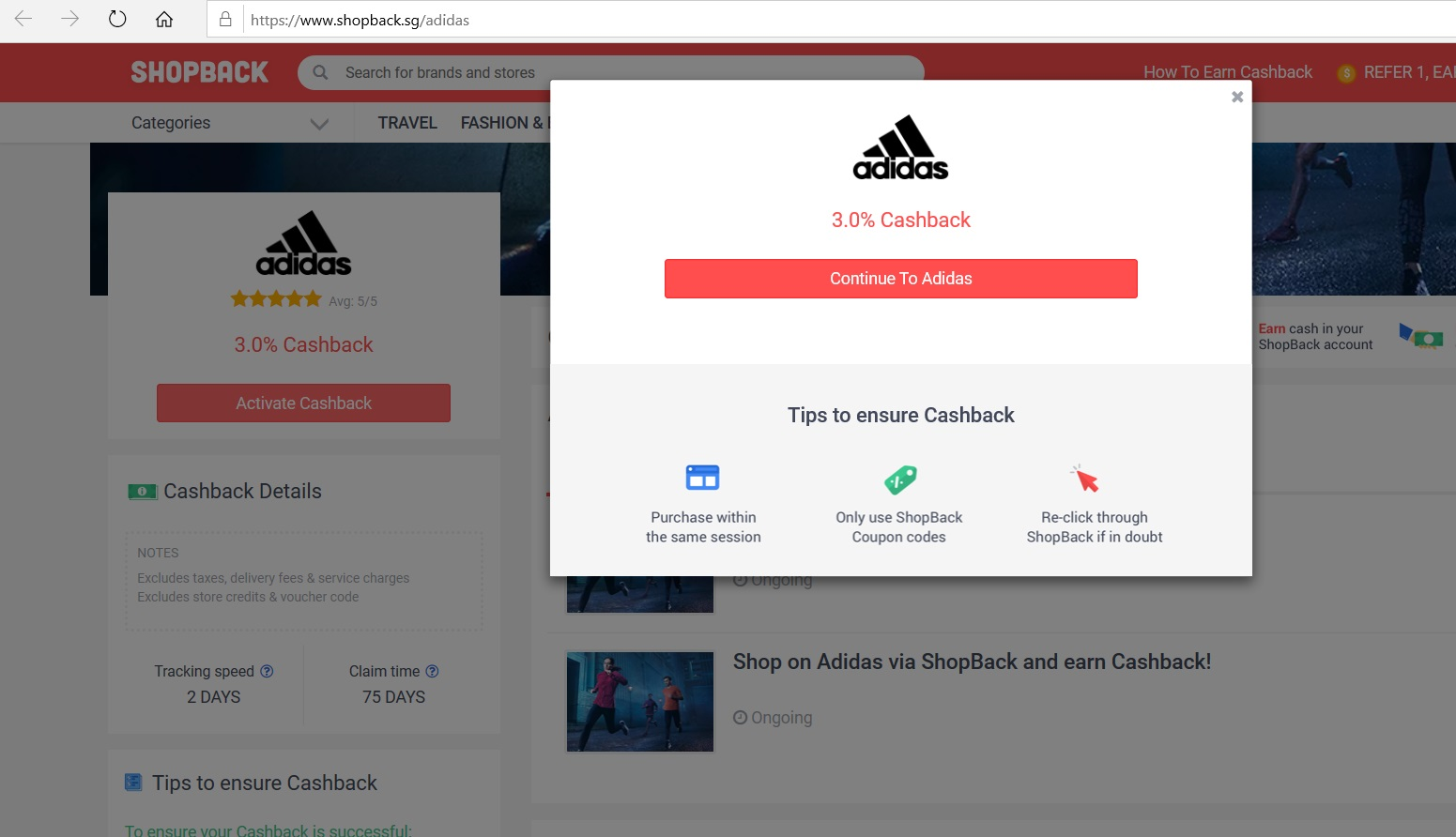 Button to activate cashback from Adidas.