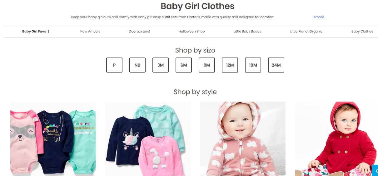 Online catalogue of baby girl clothes.